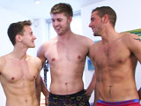 gay porn Straight Hunk Dan James Gets B || Today we have our first 3D video, Dan, Dan and Darius! So lucky Straight pup Dan James our fitness trainer gets his cock, butt, well in fact all his body worshipped by two very horny gay boys who cant believe what has fallen from the heavens straight into their hands, well actually mostly their mouths! Dan J starts off by putting the lads through a quick warm up to get their hearts pumping! Their reward Dan slaps out his massive uncut meat for them to share, though Dan B is a greedy sod and isnt keen on sharing! The guys have a lot of fun, Darius enjoys being fucked by Dan B and Dan J enjoys some excellent cock sucking. All ends with three impressive cum shots and Darius covered in the other twos gizz!