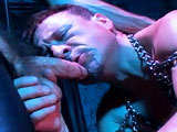 gay porn Leather Dungeon || Derik Steel is in the Dungeon getting a work over from Bret Parks as Bret forcefeeds Derik's face and man hole. Bret has him lick the ass juices off his cock after reaming him. Meanwhile, Ben, checks in with Daddy D at the front desk of Tony's Fuck Club to see what's going on. The club's voyeur, Daddy D, points to his monitor (now on the Dungeon spy cam) to let Ben in on the hot dungeon action. Faster than a jack rabbit, Ben is off to join the action. The three-way heats up as Ben provides some nipple torture and drips hot candle wax on Derik. Ben and Bret fuck Derik with hot cocks and dildoes until Ben shoots his load and Bret breeds Derik's stretched and tortured ass. (Great Breeding action!)
