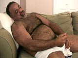 gay porn Stocky Bear Jerks His Cock || David Is One Sexy Black Hairy Bear - His Big Chubby Frame Is Perfectly Hairy and His Potential as a Silverdaddy Is Starting to Show as the Silver In His Beard and Chest Hairs Become More Dominent. We Loved Watching Him Jerk His Cock and Playing With Himself.