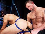 gay porn Jake Perry || 'Jake Perry, a Club Inferno discovery with a huge cock and big, round bubble-butt, climbs a ladder and power-fucks his own hole with a big dildo. Morgan Black, who has been watching from the sidelines, steps up to take over. He puts a hood over Jake's head and swaps out the dildo for an extra-thick set of anal beads. Morgan pummels Jake's hole until the hungry bottom's cock explodes out of his jockstrap. Morgan grabs a huge latex ass-snake and shoves it up Jake's ass until he shoots a hot stream of white cum, then strokes his own cock and blows a load.