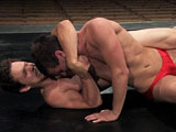 gay porn Lee Stephens Vs Derrek || Handsome and athletic Derrek Diamond is up against cocky Lee Stephens, who has martial arts skills. Derrek is new to fighting but he will use his size to power over the match. Lee comes to the mat full of piss and vinegar. He's ready to take Derrek down and fuck his ass.