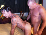gay porn Ray Dalton Part 2 || We pick-up from last time as Ray Dalton stands on the bed to give Cam a good angle for some hot and heavy ATM. Next thing you know, Ray is on his knees as Cam fucks him really good doggie style. There's some great in and out action as Cam slow fucks and then speeds up the pumping action. And we got some under shots that will make you loose your load for sure. Ray flips over to get Cam's ample load. When Cam is finished breeding Ray's hairy hole, they flip positions so that Ray can give Cam the same treatment. Its not long before Ray is pumping jiz up Cam's hole. We get to watch as it drips out in a long steady stream.