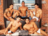 We put Diego Sans, Raphael Cedano, Dante Ferraro, Jorge Fusco and Nicco Sky on a bed with one direction, make it HOT. Part one is full of cocksucking, ass rimming and tons of cum. And part two is ever hotter.