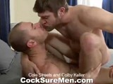 gay porn Cole And Colby || Colby Keller Has the Pleasure of Getting to Play With Cole Streets In Cole's Cocksuremen Debut. Cole Is a Tall Drink of Water Measuring In At 6'5&quot; and a Solid 200lbs. He's Got a Rock Hard Body, Covered In Sexy Fur. Bedroom Eyes and Some of the Most Kissable Lips We've Ever Seen All Add Up to One of Our Hottest Studs. Oh, We Almost Forgot to Mention He's Got a Beautiful Cock Which Colby Quickly Gravitates Towards. Colby Swallows Cole Down to the Base and Then Rubs His Beard All Over Cole's Cock. Not to Be Outdone, Cole Makes Sure Colby's Cock Gets It's Share of Attention. Cole Does Get a Little Distracted Along the Way However and Sucks and Plays With Colby's Beautiful Feet. the Foreplay Continues With the Guys 69'ing and Eating Ass, All Getting Colby Ready to Take Cole's Thick Meat Deep Inside His Ass. Colby Hops on and Goes for a Ride. His Muscular Buns Bounce Up and Down, Along With His Cock, While He Straddles Cole's Pole. Colby Moans Grow Louder as Cole Continues to Pound His Ass. Colby Cums All Over His Stomach With Cole Still Thrusting Deep Inside Him. Cole Licks Up a Bit of Colby's Warm Juice and Then Plasters Colby's Beard With a Load of His Own. Cole Licks His Cum Off Colby's Face and the Guys Kiss and Snowball. Super Hot!
