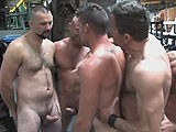 gay porn In The Workshop || a Group of Sweaty Muscle Machinists Gang Bang a Slut.