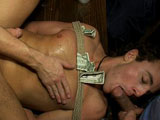 Sexy southerner Jacob Durham dances at a strip joint. It's Friday night and the place is packed with rowdy men. Things get out of hand and horny dudes take Jacob down. The poor stripper is made to suck cocks and feet. Mike Martin shove the electric butt-plug up Jacob's ass and the fun begins. Everyone takes turns fucking the exhausted boy. Jacob receives cum all over his face and many drinks toss on him to add insult to injury.