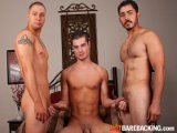 "Horse-hung Miguel Temon Joins 9"" Chad Brock to Welcome Trevor Bridge to the World of Bareback Porn by Tearing Up His Tight Ass Brutally With Their Massive-sized Equipment. After His Mouth Is Partly Satisfied, Trevor Begs to Have Both His Ass and Mouth Filled Up At the Same Time With Raw Dick - and He Gets That and a Series of Loads Fucked Into Him."