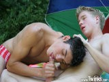 Camping Has Never Looked so Fun as the Way These Two Twinks Do It. Outside Their Tent, They Get Down to Sucking Each Other's Big Slabs of Meet, and Then It's on to Some Raw, Outdoor Ass-fucking. to Finish Off the Day's Activities, There's a Nice Serve of Cum Facial.