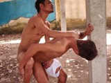 Two Horny Asian Twink Banging Each Other on Outdoor