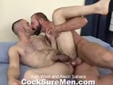 gay porn Josh And Aleco || Aleco Sahara Gives Hung Bear Josh West Permission to Tape His Hands Behind His Back and Do Anything He Wants to Him. With His Hands Bound, Aleco Is Told by Josh to Get on His Knees and Swallow His Big Dick. Aleco Opens Wide and Takes as Much as He Can. Hard as Nails, Josh Throws Aleco Onto the Bed so He Can Get Him Out of His Clothes. Josh Tickles Aleco's Feet Until He Begs for Mercy and Then Sucks His Boy-toy's Cock. Josh Stands Aleco Up and Cuts the Tape From His Hands so Aleco Can Undress Him. Before He Gets Completely Naked, Josh Makes Aleco Lick His Shiny Boots. It's Back to the Bed for Aleco Where He Raises His Ass High In the Air for Josh to Lick, and Then Stuff With His Huge Dick. Doggie, Spoon and Missionary Style; Josh Fucks Aleco Any Way He Wants Both Hard and Fast. Josh Pops His Load All Over Aleco From His Pubes to His Shoulder! Aleco Cums All Over Josh's Thick, Furry Chest, Then They End With a Sloppy Kiss.