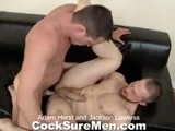 gay porn Adam And Jackson || Adam Herst and Jackson Lawless Are so Horny They Look Like They're Going to Tear Each Other Apart. Jackson Peels Adam's Pants Down and Claws At Adam's Chest as He Gags on His Thick Dick. by the Time Jackson Gets Out of His Jeans He's Already Hard as Nails. After Aggressively Sucking Jackson, Adam Has Jackson Lay Back on the Couch so He Can Lick His Sexy Feet. From There It's on to Jackson's Ass, Tonguing It to Get It Ready for His Big Cock. Adam Fucks Jackson as Hard as He Possibly Can, First From Behind and Then With Adam's Legs Thrown Over His Head. Jackson's Ass Amazingly Takes It All and Begs for More. the Guys Flip and Now It's Adam Having His Hole Eaten and Fucked! After Getting It Doggie, Adam Flips Over and Jackson Sucks His Toes While He Continues to Pound Him. Adam Pops All Over His Ripped Abs While Jackson Fucks Him. Jackson Pulls Out and Makes an Even Bigger Mess All Over Adam's Cock and Abs.