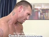 for His Debut on Cocksure Men Mike Anders Requested Bo Dean. We Couldn't Think of a Hotter Pair. Both Have Hard, Ripped Bodies and Thick Cocks. the Chemistry Is Obvious as They Feel Each Other's Muscles While Ripping Off Their Clothes. Mike Gets a Go At Bo's Long, Thick Rod and Then Bo Takes His Turn Sucking Mike. Some 69ing Moves Right Into Passionate Fucking. Bo Tops Mike In Several Positions and Mike Loves Them All. Bo Knows How to Show Off His Gorgeous Abs While Topping. After the Intense Fucking Bo Shoots His Wad Onto Mike's Abs. It's Mike's Turn and Bo Straddles Him, Stroking Both of Their Cocks Until Mike Squirts a Huge Load Onto His Chest, Face and Above His Head! This One Should Be Called Fuck of the Titans!