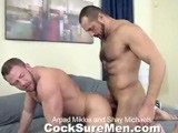 Arpad Miklos and Shay Michaels Are Two Giants When It Comes to Muscle, Cock, and Hotness. Together They Make for a Great Scene With Lots of Passion, Kissing, Sucking and Hard Fucking. Shay Is Dragged Back to Bed by Arpad While They Are Both Wearing Underwear. Shay Pulls Out Arpad's Thick Uncut Dick and Sucks. They Kiss and Arpad Sucks on Shays Huge Rod. Shay Gets on All Fours and Arpad's Tongue Licks His Tasty Ass. With Shay Already on His Knees Arpad Pounds His Cock Deep Inside. Shay Loves Every Bit of Arpad and Moans In Ecstasy While Getting Fucked. Arpad Nails Shay, Now on His Back, Hard and Fast. Shay Sits on Arpad's Cock, Bobbing Up and Down. When He Gets Close Shay Jumps Off and Kneels Next to Arpad. Shay's Huge Muscles Flex and Bulge and He Splatters Arpad's Thick Fur With His White Cum. Shay Lays His Face on Arpad's Belly Waiting for a Thick Splash. Arpad Strokes Until He Blasts Shay's Face With a Huge Load. Shay Sucks Out Every Last Drop and the Two Studs Exchange Cummy Kisses.