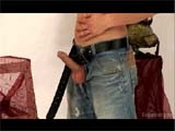 gay porn Euro Stud Cock Tease    Julius Rubs Himself, Removing His Shirt, Unzips His Jeans, Pulling His Uncut Cock and Balls Through the Opening.<br />
