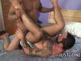 Muscle Black Dude Aron Ridge Fucks Tattooed Bear Tom Colt.