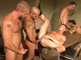 gay porn Inmates Scene 5 || Troy Daniels and Leo Forte are brought in for an interrogation along with fellow criminals Jayden Grey and Draven Torres. Allen Silver enlists Hunter Marx and Devin Adams to help teach them all a lesson. As Troy snaps his boner up, Allen stares at him and strokes -- their audience of five jacking off as they watch. As Troy slurps on Allen (&quot;Suck it deep!&quot;), Hunter feasts on Leo as Jayden and Devin fill both of Draven's holes. Allen buries his beard on Troy's pubes before eating his hole, while Devin gets fucked by Jayden. Troy then bends over for Allen as Jayden does the same for Leo, who takes turns plowing the smooth hole with Hunter. The loads start to fly, including an impressive double dose from Hunter as the unforgettable orgy comes to a close.