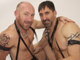 These Two Daddies Wanted to Try a Bit of Everything, so We Started With a Big of Puppy Play as Reed Walked His Pup, Oscar, Into the Shot on a Leash. Then It Was Time for Some Spanking With a Leather Strap Before Putting Blake on His Knees to Suck Reed's Cock and Rim His Ass. Reed Is Tall and Lanky Which Is a Contrast to Oscar Being Short and Muscular. They Are Both Experienced Leather Daddies That Had Done a Lot of Kinky Things, so They Have No Inhibitions. to Get the Ball Rolling, Blake Got His Chance to Top Reed In the Sling. but the Scene Was Intended to Focus on Abusing Blake's Ass, so After Some Dildo Play to Stretch His Hole, the Tables Were Turned. Blake's Main Fetish Is Getting Fisted, so Everything From Here on Led Up to That, and With Surgical Precision. but the Moment When Reed's Fist Finally Went Through the Inner Sphincter, the Look of Surprise and Pleasure on Blake's Face Was Memorable. Using Gymnastic Ability and Courage, He Was Able to Stand Up From the Sling Position With Reed's Fist Still Inside and Then Flip Over Completely, Squealing With Pleasure. It Didn't Take Long Till He Shot His Load With Reed's Fist Pumping In and Out. but It Was Reed Who Was so Turned-on His Orgasm Sprayed All Over the Room Like a Garden Hose.