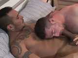 gay porn Lucio Saints And Scott || Here we have the golden man again (we have long ago joined the Latino fan club; and that IS a club) but it was the first time that our new face Scott came face to face with a real trouser python. Mind you, Scott has appeared on the scene only a few months back and has quickly mastered the art of getting his ass pounded for everybody's pleasure, the boy just has it. Still, I saw his eyes lit up when he saw Lucio's cock for the first time and he effortlessly deep throated him during the photoshoot (we don't employ fluffers anymore, either the models help each other or the crew will gladly lend a hand... ) but I digress... We have Lucio and Scott enjoying each other bodies on the bed - fast forward to the bit where Ross takes Lucio's cock out and starts sucking it - press PLAY - and play he does.. He runs his tongue up and down that shaft, he teases the head and caresses the balls; he downs that monster in one and he gasps for air. Lucio relaxes and really enjoys the view but he is not one to sit back and think of Venezuela. He has his eye on Scott's English pink asshole and he knows it would look good around his cock. But the boy needs to be prepared first. He feels Scott's heat on his fingers and soon he wants to feel that welcoming true English rose on his lips. He works his tongue in, out and around it, lubing it and making it for the taking. Finally plunging his cock inside Scott, Lucio wastes no time in starting to fuck him. As much as Lucio loosed up his hole nothing could prepare Scott [or you] to have that massive cock plunged into you in one seamless motion. Scott's eyes start to water, he breaths fast and shallow. He grimaces and grins until he finally lets himself go and starts enjoying the ride of his life. [it was like filming Scott being fucked for the first time] Lucio pleasures himself with Scott; taking him for the back, the side and the front, until he explodes on Scott's face and mouth; a mouth eager to taste every last drop of cum the Latin h