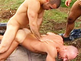 gay porn Titan Damien Crosse Ha || Franois is still fleeing his captors, out of breath, takes a quick break behind the safety of several large trees And what appears before his eyes? Dick-sucker Damien Crosse, whos on his knees servicing sexy Pierre Sias and burly Benjamin Stark. As Pierre and Benjamin kiss, their big bones buried between Damiens deepthroating lips, Franois continues to watch intently. After Damien sucks Benjamins enormous cock, the two kiss as Pierre gets on his knees to suck down the rigid rods. Then Benjamin gets a chance at licking the shafts of the lucky studs, then flips Damien around to unleash his tongue on his tender, twitching asshole, probing it and lubing it with his succulent spit while Pierre helpfully holds Damiens cheeks apart to allow Benjamin to dig in deeper. Thats the kind of meal Pierre likes too, so he wastes no time in diving down in Damiens delicious crack. Damien then pumps out a pungent pint of cream all over the side of Pierres face, which Damien slowly and sensually licks off, savoring his own spunk. Back at the campfire, Damien positions Pierre on his knees, rolls on a condom, and slowly pushes his way into Pierres furry ass, with Benjamin straddling Pierres back so Damien can fill his throat with Benjamins giant cock. Damiens rapid thrusting and slamming has Pierre groaning in ecstasy and Franois mesmerized! Benjamin gets on his hands and knees, and Damien rewards him with a furious hammering that made Pierres bottoming session look gentle by comparison. Pierre then throws a butt-pounding bone to Benjamin while Damien watches. Both Damien and Pierre jack their jizz off onto Benjamins broadly-muscled back, their cum combining to create a cream bath that coats Benjamin from his shoulders to his ass. Benjamin flips over and quickly spurts a huge fountain of cum onto his stomach, then gets hosed down by Damiens piss, which streams across his hard body and into his waiting, grinning mouth. Damien runs off into the forest, looking around and feeling that somethings not quite right hes sensing Franois, whos been watching, hidden, the whole time.