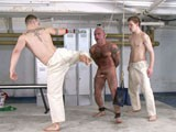 gay porn Naked Human Punch Bag || Master Nick &amp; Master Derek Are Practicing Some Muay Thai Moves Using a Lockeroom Bitch as Their Human Punch Bag. Coarse Ropes Suspend the Sub by His Neck to Keep Him In Place as the Tops Take Turns Using His Body as a Target for Their Powerful Kicks. <br /><br />having Exhausted the Sub the Two Cruel Masters Now Tease Him, Stroking His Body and Cock While Kissing In Front of Him to Turn Him on and Make His Cock Grow Hard. the Ploy Works and the Sub's Penis Gets Stiffer Giving Master Derek an Idea. He Clamps Sprung Loaded Clothes Pegs on to the Sub's Nipples, Cock and Bell-end.