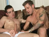 gay porn Josh Barrett And Billy Brent || Josh and Billy get it on in this great scene, the very handsome Josh, adorned with tatts over his nicely built body loves Billy's pale complexion and dark features, not to mention that huge dick he sports... It's great to see Josh lower himself onto it, his already rock hard cock twitching as he gets right over it, until the balls are slapping against his buff butt. Lapping up his fresh jizz, horny boy Billy doesn't wanna waste a drop of spunk from his heaving chest, dumping his own load over the eager bottom lads face and mouth, filling it with cum!!