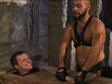 gay porn Brian Bonds And Leo Forte || Deep in the catacombs Brian Bonds is trapped in a shipping crate with only his head and cock exposed. Leo Forte needs no other equipment to administer his punishment to the boy. He covers Brian's mouth and stretches his balls to the limit. Leo pulls him out of the crate and continues to test Brian with a hard chest punching. Suspended upside down they 69 and Leo works his nipples. Next Leo throws him down and choke fucks him, tightening up his ass until Leo blows his load all over Brian's face. He cleans the boy off by dousing his exhausted naked body with the hose. The boy suffers some more as Leo pulls the wet rag tight against his face making him gasping for air. Leo makes Brian cum and leaves him in the damp and barren basement.