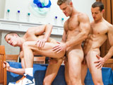 Liam and Luca Rosso get serviced by muscle stud Landon Conrad