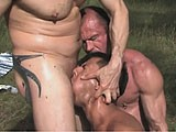 Three Pigs Meet Up for a Wet Fuck Session In the Woods.<br />