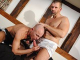 Thick Dicked Hairy Chested Big Rugby Dad Jack Saxon and Hung Tattooed Skinhead Jake D Have a Sweaty Rough Session, With Facefucking and Deep Throat, Deep Rimming and Fingering, Before Taking Turns Fucking Each Other...