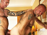 gay porn Daddy Blade And Jim || Tatted and muscular Blade cuts like a knife through horny bottom daddy Jim Scott's hairy ass in this hot and sweaty scene. There's nothing like a good fuck in a gay resort on a steamy day and this is one great fuck!