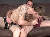 With Some Help From Bruce, Straight Motorcycle Stud Tom Sucks His First Dick...<br />