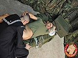 We've Got Studly James Toro Back on the Military Cot to Get the 3rd Blowjob Ever and His 1st Time on Camera. Corpsman Tanner Lends His Impeccable Cock-sucking Skills While In Uniform Today, so Eager to Suck James Off That He Can't Stop Glancing At His Crotch.