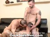 Morgan Black, Dominic Sol and Steve Vex Get Straight to Business. the Cocks Come Out and Morgan Is the First to Drop Down and Have a Taste. Dominic Joins Him and Steve Gets a Hot Double Blow Job. Morgan Gets on His Hands and Knees and Becomes the Meat of the Manwich With Steve Fucking His Face and Dominic Eating His Tasty Hole. Morgan Soon Has a Cock In Each End, Sucking Steve and Getting Fucked by Dominic At the Same Time. the Ends Switch and Steve Pounds Morgan's Ass While Dom Feeds Morgan Every Inch He Has to Offer. Seeing Morgan Getting It From Both Ends Gets Dominic a Little Jealous. Sharing Is Caring Though so Dom Lays Back to Get Fucked by Steve While He Gets a Mouthful of Morgan's Sweet Meat. Dominic Is the First to Cum, While Still Getting Slammed by Steve. He Shoots All Over His Tight Abs. Steve Switches Off With Morgan so He Can Give Dominic a Warm Mouthful of Cum, Which He Does. Morgan Wants a Taste Too and He and Dom Swap Cummy Kisses. Morgan Lays Back on the Couch and Squeezes One Out Which Dominic Laps Up, Sucking the Last Few Drops Out of Morgan's Super Sensitive Cock.