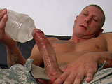 gay porn Private Tyler || 'Talk about a real man in uniform! Tyler is one sexy private who is currently serving in the army. This tattooed stud is the real deal, he is soft spoken but his piercing eyes show that Tyler really means business. He has fond memories of boot camp and his tattoos are a walking memorial to the friends he has lost in battle. Handsome Tyler is lean, mean and built like a brick house. Tyler works out constantly to keep himself in top condition at all times. In addition to his rippling biceps, developed pecs and broad shoulders, Tyler is packing some real heat in his shorts. Tyler slowly strips as his private's bulge grows more and more noticeable through his cammies. After some crotch grabbing, he pulls out a thick pink cock that is ready for action. Slow and deliberate strokes bring Tyler to full salute as he works on his unit. Being away on deployment for months at a time, Tyler is more than familiar with the pleasures of plastic. He even brought his favorite jerk off toys with him to feel more at home. Tyler then puts a whole new spin on things and pulls out a white dildo and starts to penetrate his tight man hole. This soldier takes it all the way to the base, groaning with pleasure as the toy finds its way farther and farther up his ass. Getting back to business he climbs on top of the couch to finish the job. His tanned strong arms pump his dick faster and faster as his abs crunch up into a rock hard washboard. A moan and cry later, Tyler unleashes rope after white rope onto his hairy treasure trail. His jizz almost glows against his beautiful tanned skin as it collects and pools in his pubic hair.