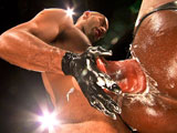 gay porn Loud And Nasty Scene 1 || Hard-muscled, shaved head studs Leo Forte and Race Cooper swap spit before Leo bends Race over a sling. Race's latex jock frames his muscular ebony cheeks, which Leo pries apart to rub his buzzed scalp against his hole. Sexy, smirking Leo, in his rubber jock and red hankie, takes his time tonguing Race's tight hole, barely started on the full-out ass assault he has planned. He throws Race into the sling and fastens Race's booted feet up against the chains as Race hungrily fingers his own wet hole. Leo crouches down and greases up Race's hole before working first one, then two, three, and four fingers inside Race, stretching him into a state of agonized bliss. Leo relishes Race's tight and willing grip on his slick fist as Race closes his eyes, lost on a mind trip, grunting and screaming as Leo shoves in deeper, Leo strokes his thick, uncut meat as he slowly works his fist up to the wrist, totally owning Race's ass. Race makes noises like a rutting animal as Leo slides a series of enormous veined dildos up his ass, inching them in by slow degrees, knocking his fist against their bases, roughly jolting the deepest parts of Race. Then Leo finally slides his aching, uncut slab of meat into Race's eager manhole. Leo grabs hold of the sling chains and jackhammers away until he pulls out and sprays white cum all over Race's black six-pack. Race screams as Leo's epic ass his load spurts all over his chest. Leo wets him down with a stream of piss before learning in and swapping spit with his satisfied bottom.