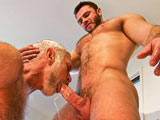 "'After drifting to sleep, Jessy Ares' dream is brought to life in the form of handsome Allen Silver -- who straddles his bod and soon feeds the hungry stud. Flashing a hot smile as he gets serviced, the verbal Allen is impressed with Jessy's skill. With Allen's boner resting on his muscle chest, Jessy buries his face in the stud's hairy stomach. Spit drips down Allen's shaft, the bearded gent bending down for a kiss. Allen drops down, soaking up the vision in front of him, gripping Jessy's cock before smoking it like a pro in a spirited sequence. ""All the way down to the balls. Deep throat that cock!"" demands Jessy, telling the sucker to work his nuts. ""Smells good,"" replies Allen. ""Tastes good down here!"" Jessy gags him (""Yeah Daddy! Let's go! Choke on that dick!"") before turning the silver fox around, sliding into his hole. Allen stays hard as he gets plowed, sitting down on Jessy as his boner bounces off the top's stomach. The two stare into each other's eyes as they rub each other's bods, squirting their loads to end the intense pairing."