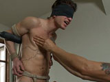 gay porn Cole || Cole is a dynamo of a package, and he's straight too. Arms back on the metal cross we rip his clothes off. When his cock gets hard we teach him about pain and pleasure by working his chest and nipples. Hard cock tied up tight, Cole is suspended and receives a dildo up his virgin ass. The fitness trainer flexes his muscular back as the flogger pounds on it. After being edged all day, this straight stud is begging to blow his massive load.