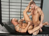 gay porn Derek Parker And Shay || Shay Michaels and Derek Parker Are Evenly Matched. Both Men Are Tawny and Stacked With Muscle, Only Derek Is Covered In a Storyboard of Tattoos. They Both Kiss With a Masculine Hunger and Strength. Aggressive and Playful, They Take Their Passion All the Way. Derek Drops Down At Shay's Feet and Swallows Shay's Cock Deep for a While, Then Derek Gets a Hummer. Derek's Super Stiff Rod Bounces on Shay's Tonsils as He Groans Like an Animal Flexing His Inked Biceps and Showing Off His Muscle Pits. Shay Lays Derek's Ass Open Sucking on His Hole Like a Beef Buffet. He Slides His Fat Pole Into Derek's Hole and Humps Him Like a Mad Dog. Muscle on Muscle They Go At It Until Both Men Blow Huge White Loads.<br />