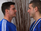 "'Everyone's favourite straight geezer Paddy O'Brian is back in this eagerly awaited video, where another boundary is smashed. It all starts with Paddy being called in to the bedroom by Dan who wants ""to try out something."" The something being a great big smacker of a kiss which Paddy seems to quite enjoy as the pair get in to some pretty full on snogging with lots of tongues. As things heat up, clothes get ripped off and this leads to Dan sucking down on Paddy's rock hard cock. Paddy is now really horny and is soon stuffing his cock in to Dan's eager hole. Dan gets a right good pounding as the pair fuck vigorously in a load of positions, Dan getting it long and deep with loads of sensual kissing; Dan shoots his load all over his chest followed by Paddy pulling out and cumming all over Dan's balls; how hot, wet and horny is that."