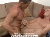 gay porn Rock And Devin || Devin Adams Is Hanging Out Watching Tv When His Dad's Buddy, Rock, Knocks on the Door. Rock Walks In and Asks for Devin's Father. Devin Lets Rock Know That His Dad Is Out to the Hardware Store and Won't Be Back for At Least an Hour. Rock Notices Devin Has Gotten a Bit Too Much Sun and Is Starting to Peel. Devin Asks Rock If He Wouldn't Mind Putting Some Lotion on His Back Because the Sun Burn Is Really Bothering Him. Rock Agrees and Rubs Lotion Into Devin's Back. His Hands Quickly Find Their Way to Devin's Tight Stomach, and After Double-checking With Devin to Make Sure His Dad Won't Be Back, His Hands Make Their Way Down Devin's Pants. Devin Drops Trough and Rock Gets Down on His Knees to Suck His Dick. Devin Is Hard Instantly Feeling Rock's Warm Mouth and Talented Tongue on His Prick. After Returning the Favor Sucking Rock, Devin Buries His Face In Rock's Ass. He Laps At Rock's Tight Hole Getting It Wet and Ready for Cock. Devin Slides Inside Rock's Hole and Immediately Begins Pounding Away. After Getting Slammed From Behind Rock Tells Devin He Wants to Ride His Big Dick. Rock Bounces Up and Down on Devin's Dick, Eventually Leaving Devin's Hole a Little Jealous. Only One Thing to Do! Devin Leans Back and Spreads Wide for Rock Who Thrusts Away Inside His New Young Friend. Devin Can't Hold Back and Winds Up Cumming All Over His Stomach While Rock Still Pumps Away At His Ass. Rock Sprays His Load Onto Devin's Cock and Pubes. All Finished, the Guys Begin to Relax and Get Comfortable When Devin's Phone Rings. It's His Dad Complaining That Rock's Car Is Blocking the Driveway!
