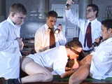 'Blindfolded student is initiated to a hot frat boy gang bang