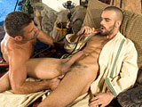 gay porn Damien Crosse And Bruno Bond || Bruno Bond gets Damien Crosse's cock all wet, sucking slowly and deeply in this video. He then lifts Crosse's legs, and stabs his tongue deep inside the hairy hole, making him moan for more. After Crosse has been serviced, he takes charge by mounting Bond from behind, and sticking his thick cock, deep inside Bond's hairy ass. Bond's face shows a mixture of pain with immense pleasure, as Crosse rides his ass wildly.
