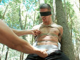 gay porn Ty Roderick || Straight stud Ty Roderick is caught and tied up among the trees. He's screaming for help but no one can hear him in the deep woods. We lightly touch his body and his cock gets rock hard. He begs to cum after we slowly edge his long thick cock. After receiving a couple of punches, Ty finally shuts up and moans as the dildo violates his ass. In a vertical hogtie Ty is edged some more. He wants so badly to shoot his load on the forest floor but before he can we completely suspend him, fuck his ass, and edge him some more. Spread out on the ground, four posts keep the stud's hands away from his huge cock. When he finally blows his load and he's defenseless when evil post orgasm cock stroking and head rubbing won't stop.