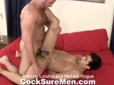 gay porn Anthony And Michael || Michael Rogue Walks In the Bedroom to Find Anthony London's Clothes Strewn About. Anthony's Worn Underwear Catch Michae's Interest. He Lays Down on the Bed and Takes Some Deep Sniffs of Anthony's Sweaty Briefs. Michael Is Hard In Seconds and Begins to Stroke His Thick Dick. Done With His Shower, Anthony Enters the Room and Sees Michael Jacking His Stiffy. Anthony Dries Off and Walks Over to Michael Who Immediately Starts Sucking Anthony's Dick. Once He's Had His Fill, Michael Lays Back on the Bed. Anthony Climbs Next to Him and Swallows Michael's Uncut Cock. the Guys 69, Getting One Another Worked Into a Fervor to Fuck! Anthony Bends Michael Over so He Can Eat His Ass and Get It Ready to Be Plowed. Anthony Mounts His Young Stud and Firmly Pounds His Hungry Hole. From Behind, on Top, Missionary... the Guys Get a Workout as They Get Ready to Cum. Michael Is the First to Pop. He Splatters His Tan Stomach While Anthony Thrusts Away Inside His Ass. Anthony Drops a Super-thick Load Onto Michael's Stomach Which He Licks Up and Then Spits Into Michael's Mouth. What a Kiss!