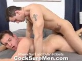 Phenix Saint and Dylan Roberts Meet At the Gym and Decide to Get to Know One Another Better. They Start With Small Talk but They're Body Language Is Pretty Clear When They Lay Next to Each Other Wearing Nothing but Briefs. Phenix Takes Out His Thick Cock Which Dylan Roberts Immediately Slides Down His Throat. Phenix Follows Suit, Slurping Down Dylan's Big Dick. Even After All the Pumping Phenix and Dylan Did At the Gym, They Are Ready for More. Phenix Saint Spreads Dylan's Legs Wide and Gives Him a Workout He'll Never Forget. Dylan's Muscles Bulge as He Grips the Bed From the Pounding Phenix Dishes Out. After a Lot of Pounding Dylan Shoots Onto His Abs, Chest and Past His Head. Soon Phenix Pumps Out a Load All Over Dylan Robert's Ripped Abs and Chest.