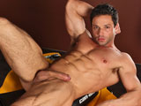 Mega Italian Hunk Tyler Black jerks his man meat in a garage