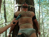 gay porn Josh West || You've seen him as a brutal top on Bound Gods , renowned for the size of his huge cock. Now Josh West is here on Men on Edge to be bound, flogged, and dildo fucked. Josh is tied to a tree and the anticipation gets his cock hard right away. We tease him with the vibrator and put nipple clamps on him while he's manhandled. We tie him again near a forked tree and flog him hard and fuck his ass. Another edging makes Josh beg to cum, his cries echoing through the forest as his huge cock throbs. Fully suspended he can take no more and finally blows his load but his massive cock still must endure the post-orgasm torment.