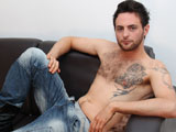 Riley Tess and his tight hairy body; jerking it off the couch.