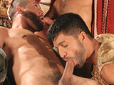 gay porn Dominic Pacifico, Tony Aziz An || After a sensual massage to get the action rolling, Tony Aziz pulls back his robe to reveal another muscle that needs to be worked on by the gorgeous Dominic Pacifico. Aybars decides to join in and soon they are wildly sucking each other. A switch of positions, and Pacifico is on his back, with one cock in his mouth, and one in his ass. Pacifico then proves that he can give as good as he gets, fucking relentlessly until Aziz is moaning and shooting cum, all over his stomach.
