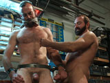 gay porn Josh West And Clayton  || Vice to the nuts and motor oil bondage fuck in the metal shop